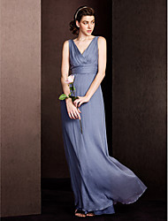 Floor-length Silk Bridesmaid Dress - Sheath / Column V-neck with Draping / Criss Cross / Ruching