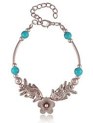 Z&X® Vintage Tibetan Silver Double Fish Turquoise Strands Charm Bracelets (Blue, Red)
