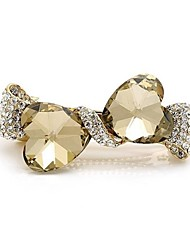 1Pc Fashion Popular Elegant Double Heart Shape Glass Diamond Hair Clip