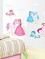 Wall Stickers Wall Decals, Cartoon Barbie Pegasus PVC Wall Stickers