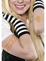 2 Pcs Waterproof Gold Glitter Arabic Beautiful Armband Tattoo Stickers
