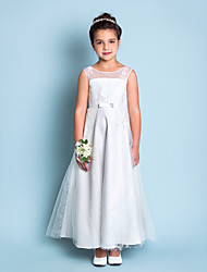 A-line Ankle-length Flower Girl Dress - Lace Jewel with Lace