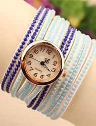 Women's Round  Fashion Leather Japanese Quartz Watch