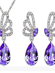 Fashion Butterfly  Crystal Jewelry Sets(More Color) (1Set)