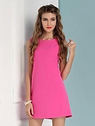 Women's Pink Cute Casual Summer Knitwear Sleeveless Dresses