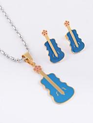 violão de aço titânio moda (colar&brincos) conjunto de jóias