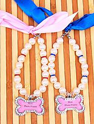 Bone Rhinestone Metal Necklace Pearl Collars for Pet Dogs and Cats