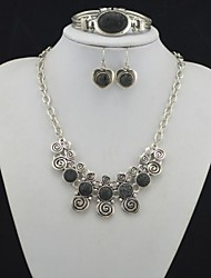 Toonykelly Vintage Heart Lava Rock Volcano Stone(Earring and Necklace and Bracelet) Jewelry Set