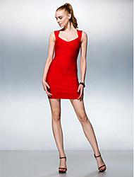Vestido Tubo/Coluna Decote em V Mini Seda