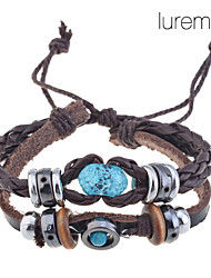 Lureme®Handmade Vintage Multi Strand Blue Amber Bead Charm Leather Wrap Bracelet Jewelry