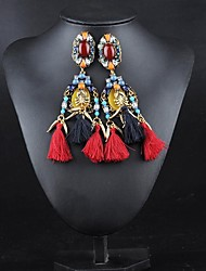 Manluo Western Style Fashion Tassels Ear Stud Earrings