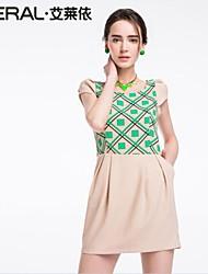 abito estivo annata sleeveless sottile elegante v-collo della rappezzatura di un pezzo dal carro armato chiffon di eral®women