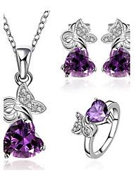 Women's Classical Purple Zircon Jewellery Set (Set of 3)