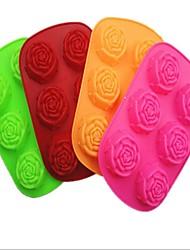 6-Loch-Rose Form Kuchen Eis Gelee Schokoladenformen, Silikon 25 x 16,5 x 3,5 cm (9,9 × 6,5 × 1.4inch) zufällige Farbe