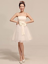 Knee-length Tulle Bridesmaid Dress - Champagne A-line / Princess Strapless
