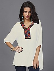 Women's Print Blue/White Blouse , V Neck ½ Length Sleeve Embroidery