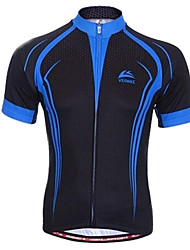 VEOBIKE Men's Summer Breathable Polyester Short Sleeve Cycling Jersey - Blue + Black
