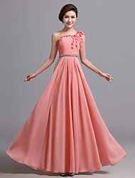 Formal Evening Dress - Champagne/Candy Pink A-line One Shoulder Floor-length Chiffon
