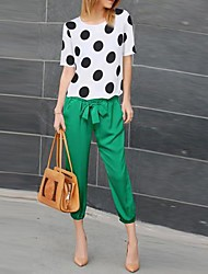 Women's Polka Dot Fashion Suit(Blouse & Pants)