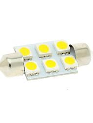 36mm 6x5050 SMD LED 100LM 3000k lumières chaudes blanches ornent ampoule dôme carte de lecture de plaque d'immatriculation pour voiture (12V DC)