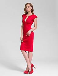 Cocktail Party Dress - Black Sheath/Column V-neck Knee-length Cotton