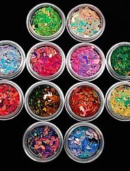 12pcs красочные цвета AB музыкальная нота акриловые ногти художественное оформление