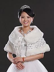 Fur Wraps Faux Fur Beading Wedding/Special Occasion Shawl