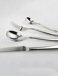 4 Pieces Tableware Set, Dinner Knife, Spoon, Fork and Teaspoon, Stainless Steel