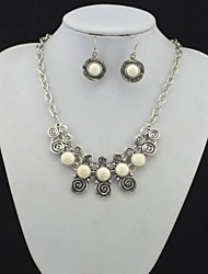 Toonykelly Vintage Look Antique Silver Plated Turquoise Stone(Earring and Necklace) Jewelry Set