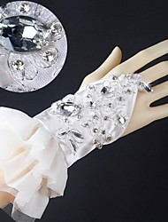 Elastic Satin Wrist Length Fingerless Wedding Gloves with Applique with Rhinestone with Ruffles ASG39