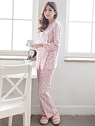 Bearsland Maternity Cotton Floral Printed Nursing Sleepwear Tops with Pant Japanese Style Cute Pajama Breastfeeding Wear