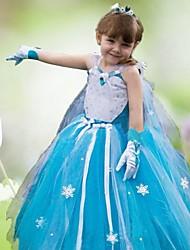 longue robe congelé de jeune fille se leva petite fille robe robe de princesse robe à manches longues