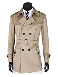 Men's Solid Casual Trench coat,Canvas / Cotton Blend Long Sleeve