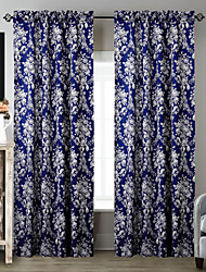 TWOPAGES® (Two Panels) Nice-looking Deep Blue Smiling Rose Floral Curtain