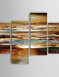 Oil Painting Modern Abstract Mystical Evening Set of 4 Hand Painted Canvas with Stretched Frame