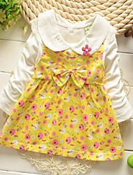Girl's Floral Dress,Cotton Blend Winter / Spring / Fall Green / Pink / Yellow
