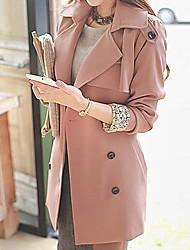 Peach John Women's Long Sleeve Slim Fashion Lapel Neck Temperament Overcoat