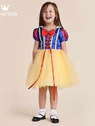Girl's Solid Dress,Chiffon Summer / Spring / Fall Yellow