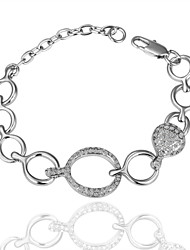 Fashion Delicate Women's Diamente Platinum Plated Tin Alloy Chain & Link Bracelet(White)(1Pc)