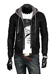PROMOTION Men's Fashion and Cotton Hoodie Thickening of the PU Leather Coat