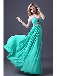 Vestido - Azul Piscina Corte A Hasta el Suelo - Escote Corazón Gasa