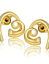 Fashion Simple Heart Golden Gold-Plated Stud Earrings (Golden)(1Pair)