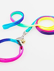 Dog Collar / Leash Adjustable/Retractable Rainbow Nylon