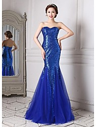 Formal Evening Dress - Royal Blue Trumpet/Mermaid Sweetheart Floor-length Tulle / Sequined