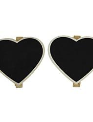 forma de corazón con un clip de la pizarra pequeña decoración (2 piezas)