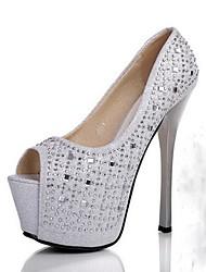Wedding Shoes - Saltos - Saltos / Peep Toe - Preto / Prateado - Feminino - Casamento / Social / Festas & Noite
