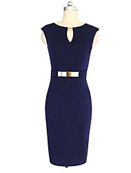Women's Bodycon Solid Sheath Dress , Halter Knee-length Polyester