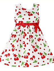 Girl's Fashion Cherry Print Cotton Sundress Baby Kids Clothing Party Birthday Casual Dresses