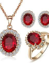 Schmuckset Simple Style Krystall Zirkon Kubikzirkonia Halsketten Ohrringe Ringe Für Hochzeit Party Normal Hochzeitsgeschenke