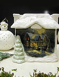 Ivory Ceramics House Candle Holder